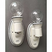 Pair of Antique Black and White Art Deco Porcelain Wall Sconces Circa 1920