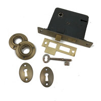"Antique Interior Privacy Mortise Lock 2-3/8"" Backset - New Old Stock"