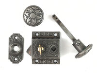 Antique Cast Iron Victorian Screen Door Latch Set by Sargent & Co. Hardware - Circa 1871