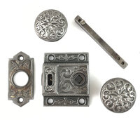 Antique Cast Iron Victorian Screen Door Latch Set by Sargent & Co. Hardware - Circa 1871 - AS IS