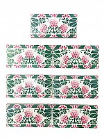 "Set of 7 Antique ""Saint Amand & Hamage Nord"" 3"" x 6"" Belgian Subway Tiles - Pink, Green, Ivory Flowers"