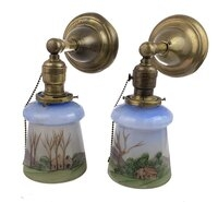 Antique Brass Wall Sconce Pair With Hand-Painted Scenic Shades - Circa 1920