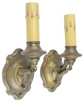 Antique Brass Colonial Revival Wall Sconce Pair - Circa 1920