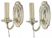 Antique Silverplate Colonial Revival Wall Sconce Pair - Circa 1920