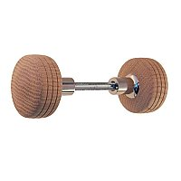 Incised Box Style Red Oak Wooden Doorknob Pair - Polished Nickel
