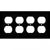 Matte Black Stamped Quad Duplex Switchplate / Cover Plate