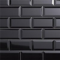 "Crown Heights Beveled Glossy Black 3"" x 6"" Subway Tile - Glossy Black - Sold Per Case of 44 Tile - 6.03 Square Feet"