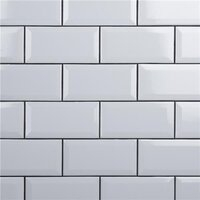 "Crown Heights Beveled Glossy White 3"" x 6"" Subway Tile - Sold Per Case of 44 Tile - 6.03 Square Feet"