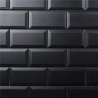 "Crown Heights Beveled Matte Black 3"" x 6"" Subway Tile - Glossy Black - Sold Per Case of 44 Tile - 6.03 Square Feet"