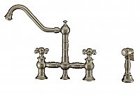 Vintage III Plus Bridge Faucet with Swivel Spout, Cross Handles and Solid Brass Side Spray - Brushed Nickel Finish