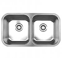 Noah's Collection Brushed Stainless Steel Double Bowl Sink