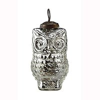 Silver Mercury Glass Owl Ornament