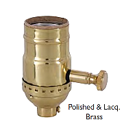 Brass Shell Dimmer Socket with Turn Knob & Full Range Dimmer - No UNO Thread-Polished & Lacquered Brass