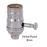 Brass Shell Dimmer Socket with Turn Knob & Full Range Dimmer - No UNO Thread-Nickel Plated Brass