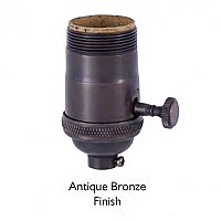 Heavy Turned Solid Brass Lamp Socket with 3-Way Interior & Removable Turn Knob, UNO Thread-Antique Bronze