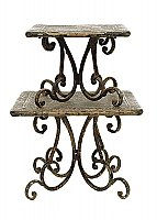 Set of Two Decorative Rustic Metal Pedestals - Distressed Black