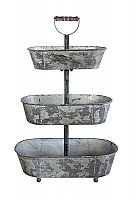Decorative Distressed Metal 3-Tier Container