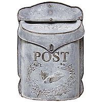 Galvanized Metal Post / Mail Box - Grey