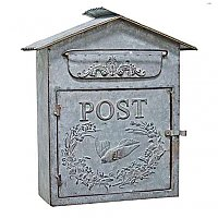 Birdhouse Post / Mail Box - Galvanized Grey