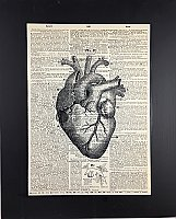 Repurposed Antique Dictionary Page Wall Decor - Heart