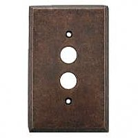 Mottled Antique Copper Single Pushbutton Forged Switchplate