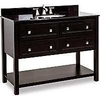 "Elements Adler 48"" Black Console Vanity with Black Granite Top"