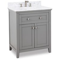 "Jeffrey Alexander 30"" Chatham Shaker Vanity in Warm Grey with White Carrara Marble Top"