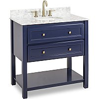 "Adler by Elements 36"" Vanity with White Carrara Top - Hale Blue"