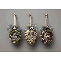 Glass Pinecone Ornament - 3 Colors