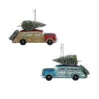 Glass Car with Christmas Tree Ornament