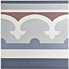 "Caprice Saint Tropez 7-7/8"" x 7-7/8"" Porcelain Border Tile - Blue/Wine - Per Piece - .43 Square Feet"
