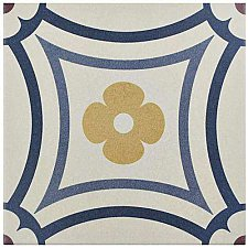 "Caprice Saint Tropez 7-7/8"" x 7-7/8"" Porcelain Tile - Blue/Wine- Per Case of 25 - 11.46 Square Feet"