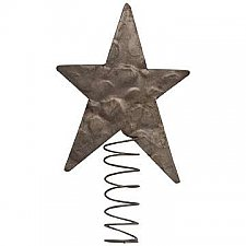 Hammered Metal Star Tree Topper, Large 7-1/2""