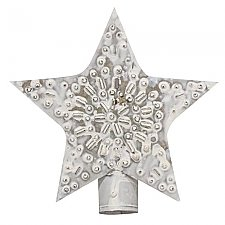 Whitewashed Punched Tin Star Holiday Tree Topper - 5""