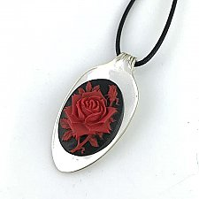 Mini Repurposed Spoon Necklace with Black & Red Rose Cameo