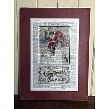 Repurposed Antique Dictionary Page Wall Holiday Decor - Victorian Bicycling Santa