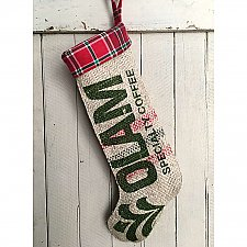 "Repurposed Burlap Coffee Bag Holiday Stocking with Plaid Flannel - Red and Green ""Olam Specialty Coffee"""