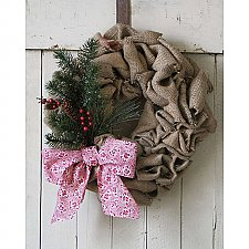 Repurposed Burlap Coffee Bean Bag Holiday Wreath