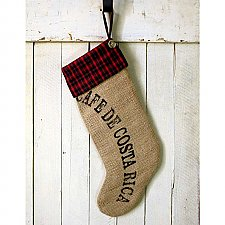 Repurposed Burlap Christmas Stocking- Café De Costa Rica
