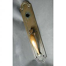 Antique Large Heavy Brass Entry Door Thumblatch Door Pull & Plate With Cylinder Opening