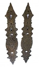 Antique Pair of Cast Brass Thumblatch Door Pull Backplates ONLY