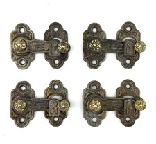 Antique Set of Four Aesthetic Style Ornate Cast Iron and Brass Shutter Bars