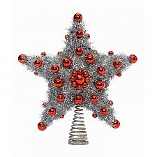 Wire Star Tree Topper, Silver w/ Red Beads