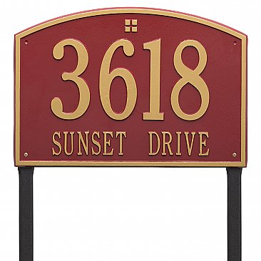 Cape Charles Estate Size Lawn Mount Address Plaque - Two Line