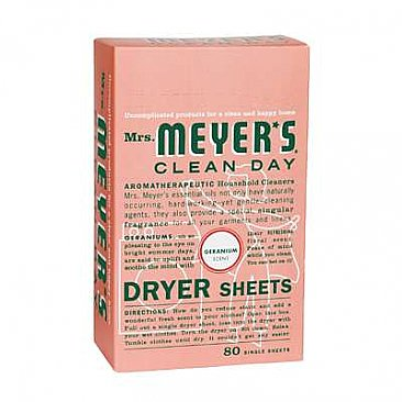 Mrs. Meyers Dryer Sheets - Geranium