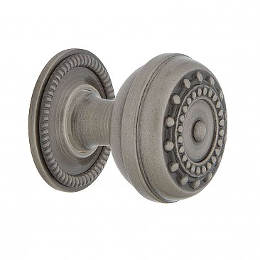 "Nostalgic Warehouse Meadows Brass 1-3/8"" Cabinet Knob with Rope Rose in Antique Pewter"