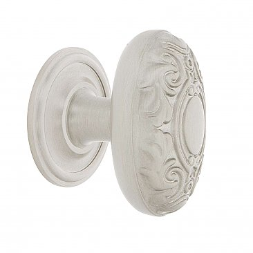 "Nostalgic Warehouse Victorian Brass 1-3/4"" Cabinet Knob with Classic Rose in Satin Nickel"