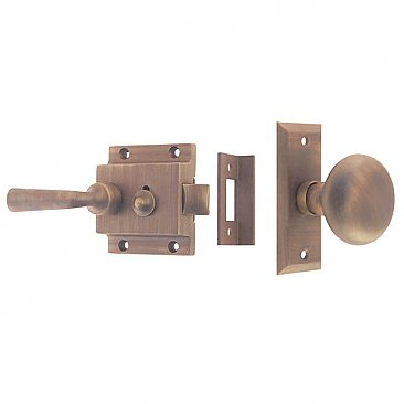 Solid Brass Traditional Surface Mount Storm Door Latch Set - Antique Brass