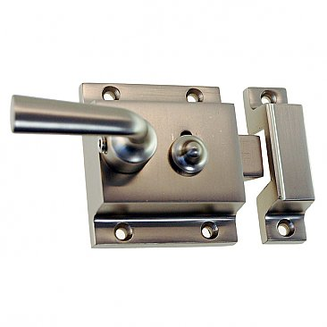 Solid Brass Surface Mount Storm Door Latch Box Strike - Lacquered Polished Brass
