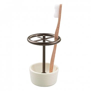 Elsa Ceramic and Oil Rubbed Bronze Toothbrush Holder or Stand
